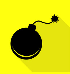 Bomb sign black icon with flat style vector