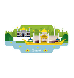 brunei travel and attraction vector image vector image