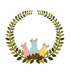 Colorful arch of leaves with pastel flowebud vector