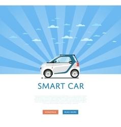 Compact white smart car vector