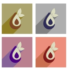 Concept of flat icons with long shadow eco water vector