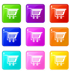 Empty plastic market trolley icons 9 set vector