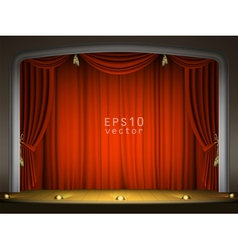 Empty stage with red curtains vector image