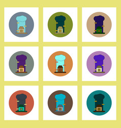 Flat icons set of rain cloud and house concept on vector
