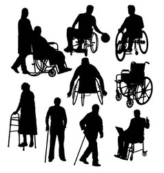Handicapped and wheelchair silhouettes vector