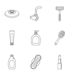 hygiene icons set outline style vector image