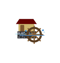 Isolated watermill flat icon wheel element vector