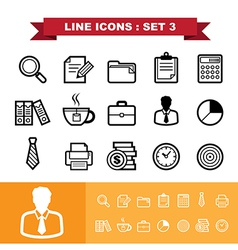 Line icons set 3 vector image