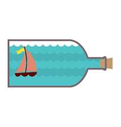Sailboat In A Glass Bottle vector image vector image