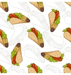 Seamless pattern taco scetch and color vector image