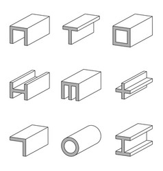 Set line icon steel pipe and beam product vector