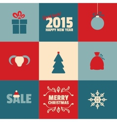Set of retro Christmas and New Year cards in blue vector image