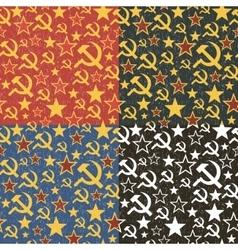 Set of soviet union seamless patterns vector