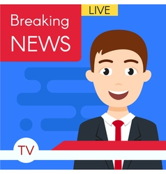 Smiling news journalist anchorman breaking news vector
