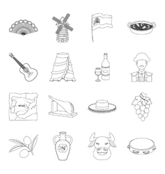 Spain country set icons in outline style big vector