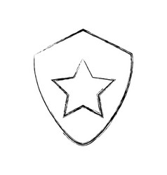 Star on shield symbol vector