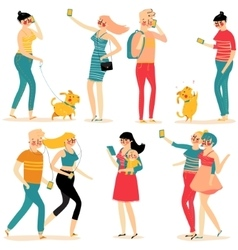 Style people and gadgets vector image vector image