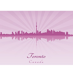Toronto skyline in purple radiant orchid vector image