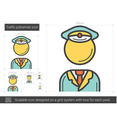 Traffic policeman line icon vector