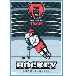 Hockey League Vintage Poster vector image