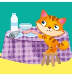 CatTakes Sausage From Table vector image