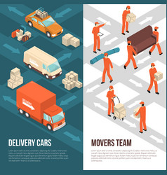 Delivery moving vertical banner set vector