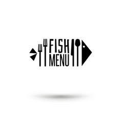 Fish with cutlery sign vector