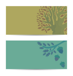 Set of banners with oak tree and acorns vector