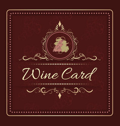 Wine card menu design with hand drawn bunch of vector