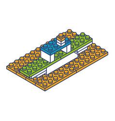 ship toy building block bricks vector image