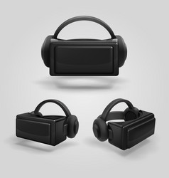 Headset and stereoscopic virtual reality goggles vector