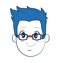 Man face avatar wear glasses and blue hairstyle vector