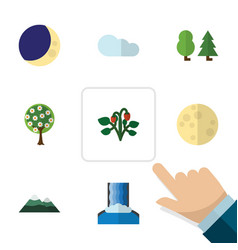 Flat icon nature set of berry tree half moon and vector
