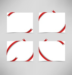 White card with red ribbons vector
