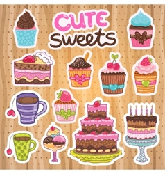 Muffin cupcake pie cake tea set vector