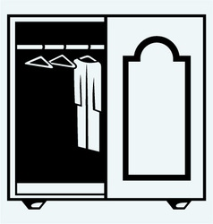 Wardrobe with clothes vector