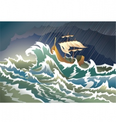 ship sinking in the storm vector image