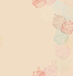 Cupcake border pattern vector