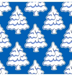 Seamless pattern of snowy Christmas tree vector image