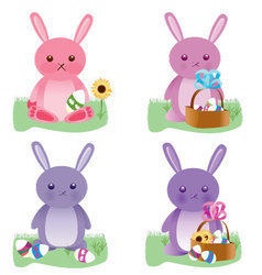 Easter bunnies set vector