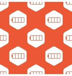 Orange hexagon empty battery pattern vector