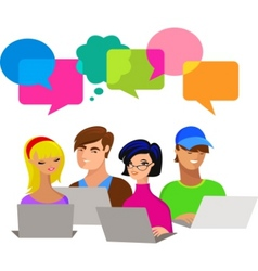 young people with speech bubbles and computers vector image