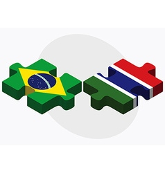 Brazil and gambia flags vector