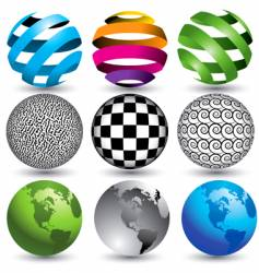 9 globes in editable format vector
