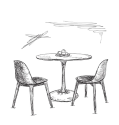 Cafe or kitchen interior table and chair sketch vector