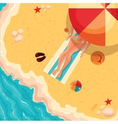 Holiday girl on a sunny sea shore view from above vector