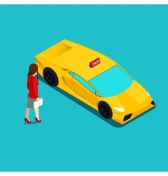Isometric taxi service businesswoman vector