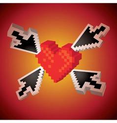 Arrows showing heart vector image vector image