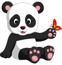 Baby panda cartoon vector