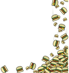 Background of the falling burgers preparation for vector